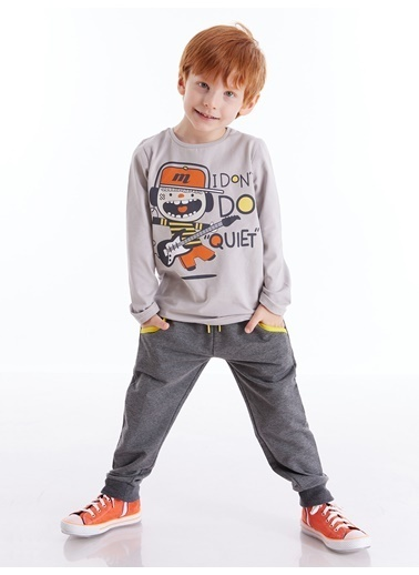 Denokids Singer Boy Erkek Çocuk Pantolon Takım Gri